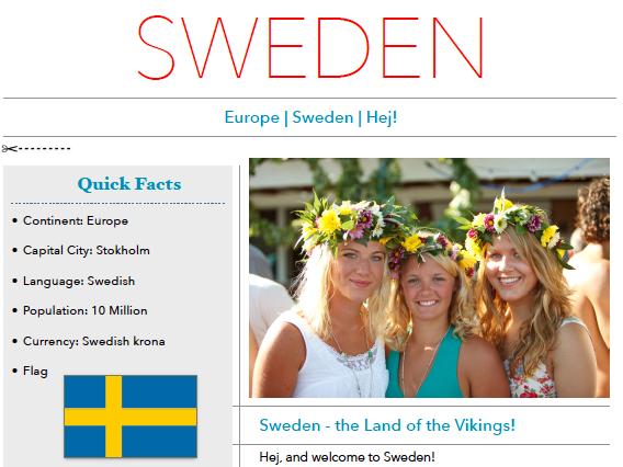 Discover Sweden - Printable Worksheet
