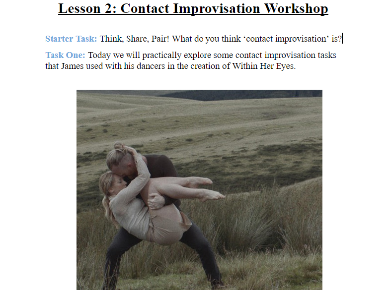 Within Her Eyes Student Booklet and Activities (6 Lessons) (GCSE Dance Anthology)