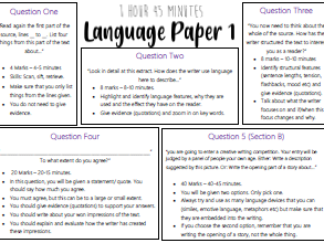 Language Paper 1 Learning/ Revision Mat
