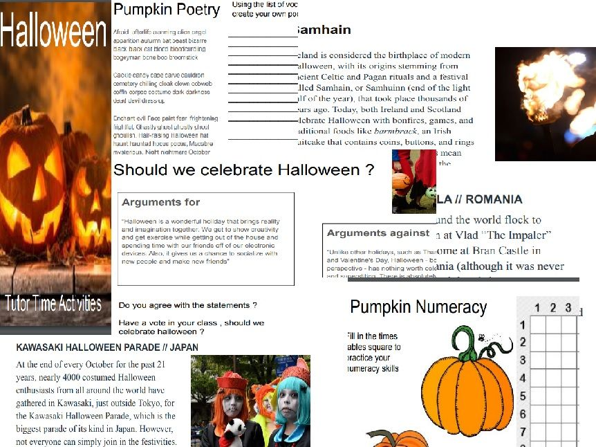 Halloween tutor time resources and activities