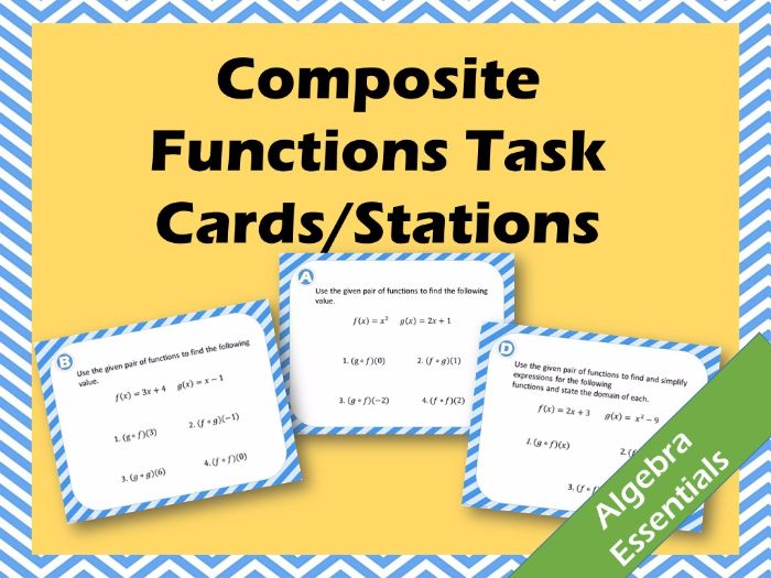 Composite Functions Task Cards or Stations