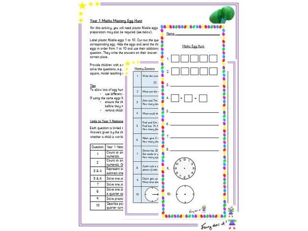 Year 1 Maths Mastery Assessment Egg Hunt