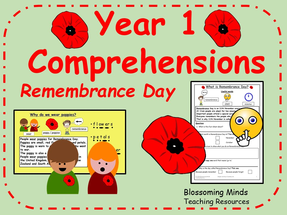Year 1 Comprehensions - Remembrance Day