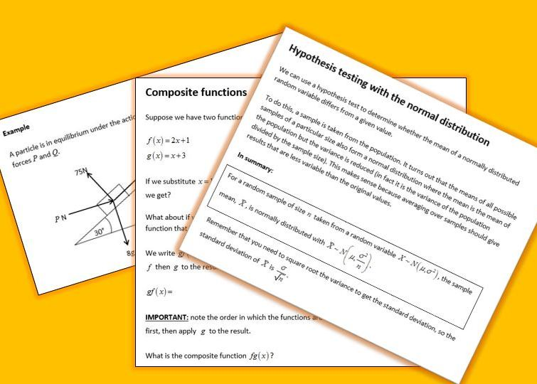 Maths A Level Complete Year 2 Notes and Examples (Pure, Statistics and Mechanics)