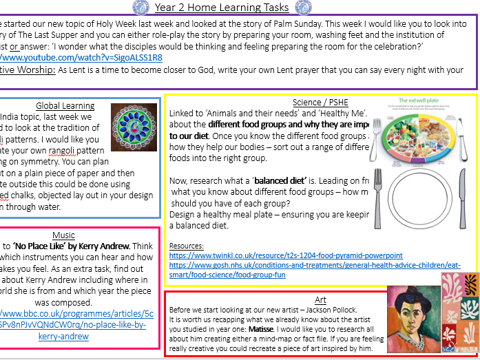 Year 2 Home Learning Foundation Subjects