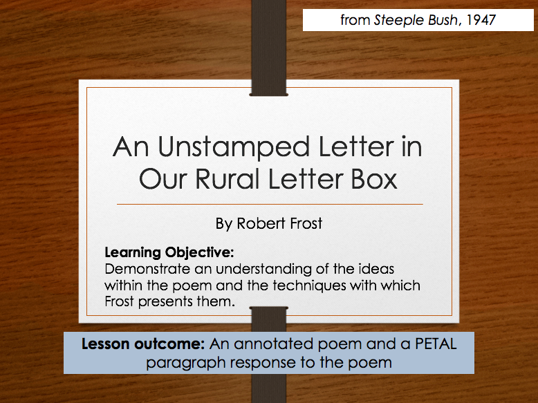 Robert Frost - An Unstamped Letter In Our Rural Letter Box