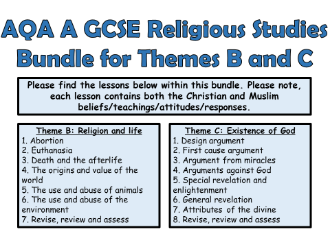 AQA A GCSE Religious Studies Theme B and C Bundle!