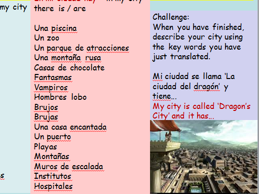 KS3 Spanish Cover Lesson Design your own City