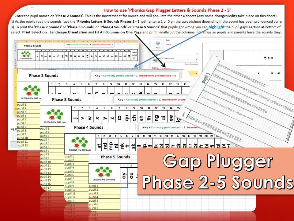 Phonics Gap Plugger Letters & Sounds Phases 2 to 5