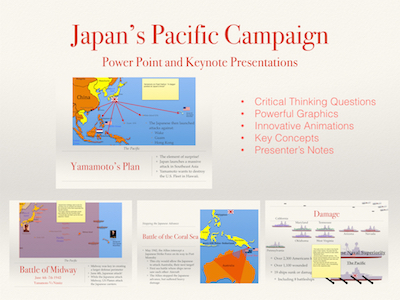 World War II 1937-1945 Japan's Pacific Campaign Power Point and Keynote Presentations