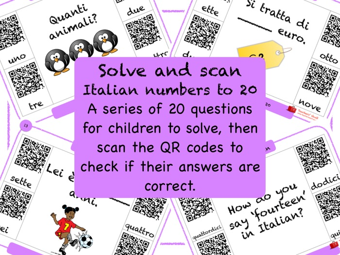 Italian Numbers to 20 Solve and Scan