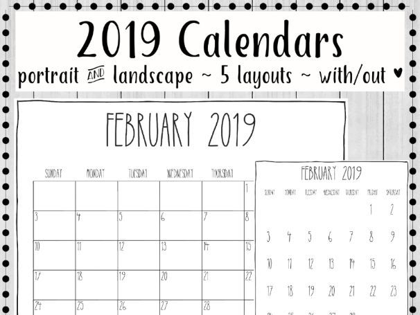 2019 Printable Calendars Minimalist Design