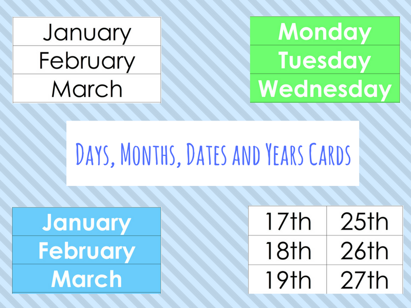 Days, Months, Dates and Years Cards (ESOL/EFL/ESL/EAL/Literacy/Numeracy/SLD