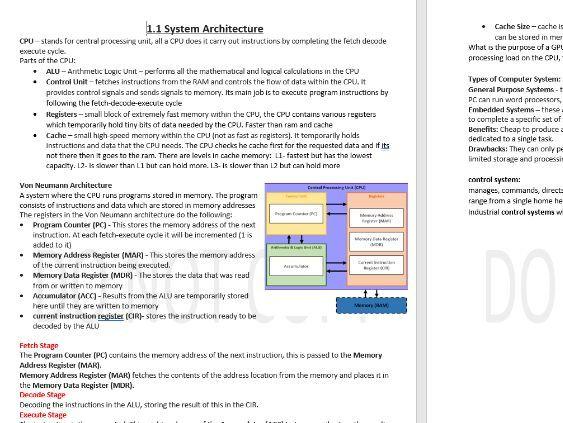 OCR Computing paper 1 complete notes J276 spec