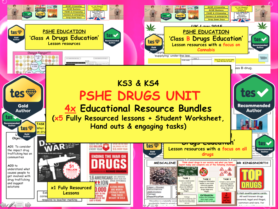 x5 Lessons on Drugs unit for KS3 Students. Healthy living / Drugs / Mental Health -  Unit PSHE Bundle