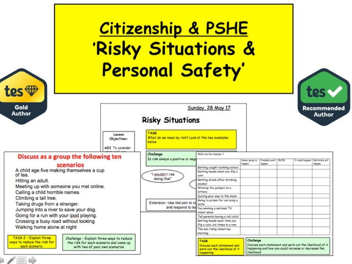 PSHE: Personal Safety: Managing risks and mitigating dangers.