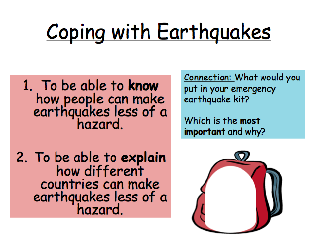 Lesson 3: Reducing the impacts of Earthquakes