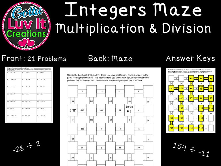 Integers Multiplication & Division Mixed Practice - 2 Mazes