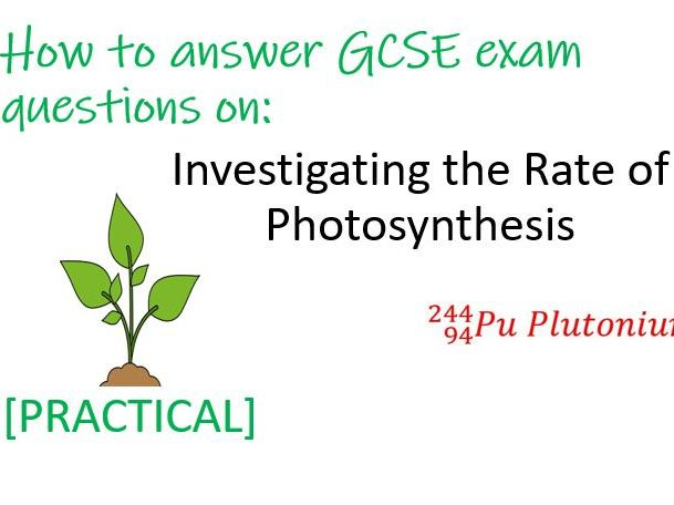 GCSE Biology Exam Question - Investigating Photosynthesis