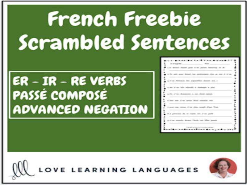 French regular verbs scrambled sentences exercise - Passé Composé - Negation