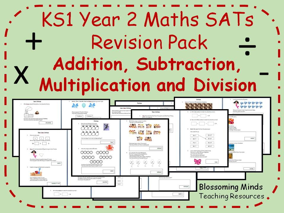 Year 2 Maths Arithmetic SATs Revision Pack - Addition, Subtraction, Multiplication, Division - 3 levels