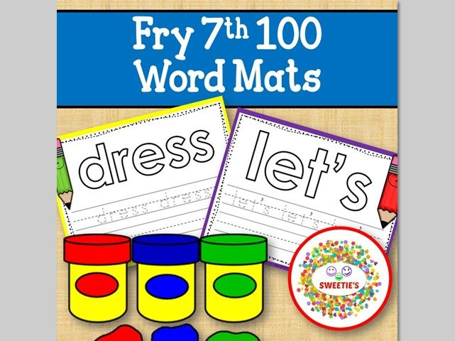 Sight Word Mats:  Fry 7th 100 Word Mats – Color
