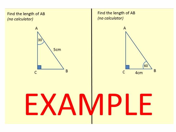 Trigonometry - deriving exact values for cos, sin and tan 30/45/60 & problem solving questions