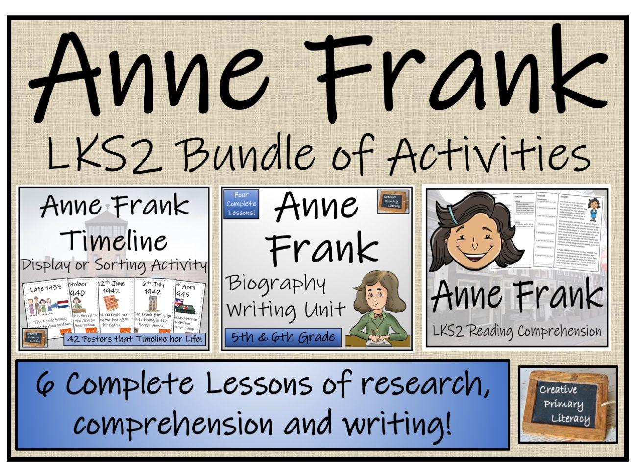 LKS2 Anne Frank Timeline Display, Sorting, Reading Comprehension & Biography Bundle