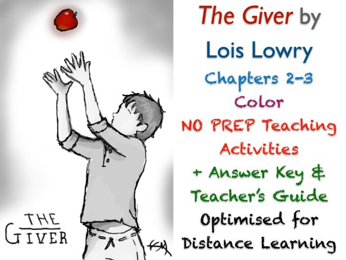 The Giver (Lois Lowry) - Chapters 2-3 - Color - NO PREP ACTIVITIES + ANSWERS