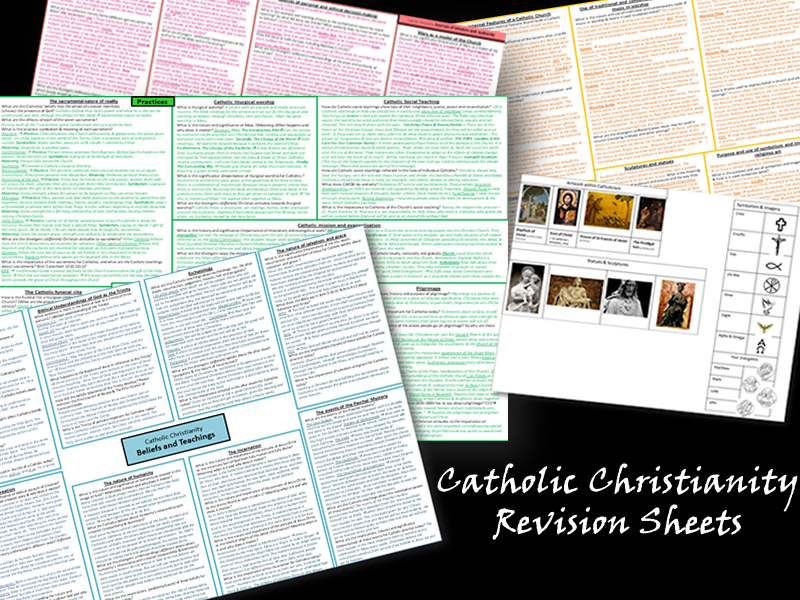 Catholic Christianity Revision (Each topic fits onto 1 A3 Page)