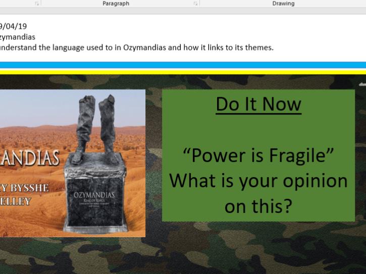 Ozymandias Context lesson - Saddam Hussein comparison