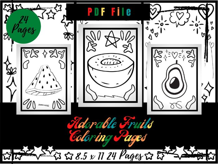 Adorable Fruits Colouring Pages For Kids, Printable Colouring Sheets PDF