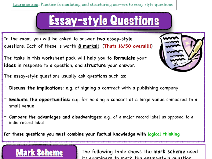 BTEC MUSIC - 'Unit 1 'The Music Industry' - How to answer essay questions on music industry