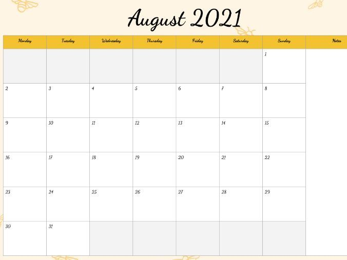 2020-2021 Calendar Happy Bees