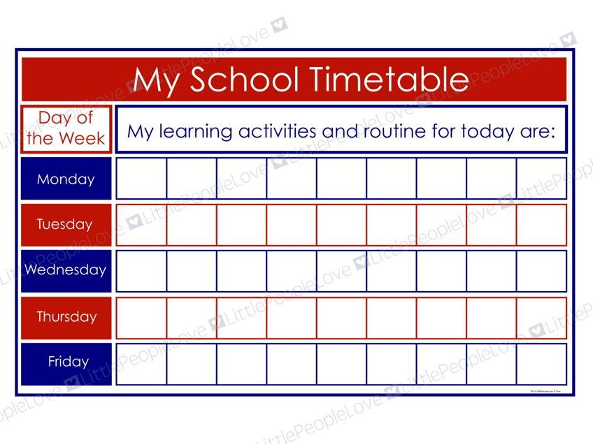 My School Timetable (Blue/Red)