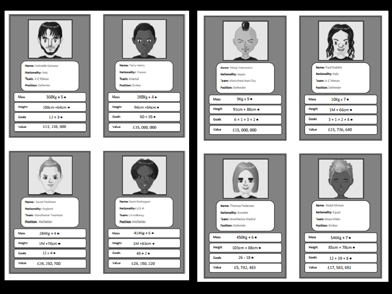 Mathematical operations footballing top trumps for Lower KS2 (Black and white version)