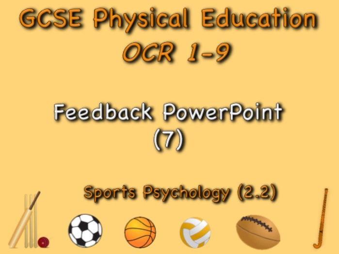 GCSE OCR PE (2.2) Sports Psychology - Feedback PowerPoint