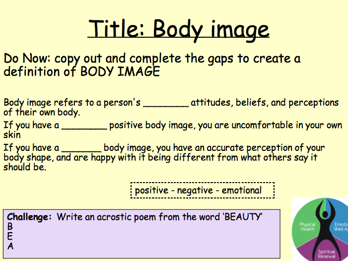PSHE Health - body image lesson 5