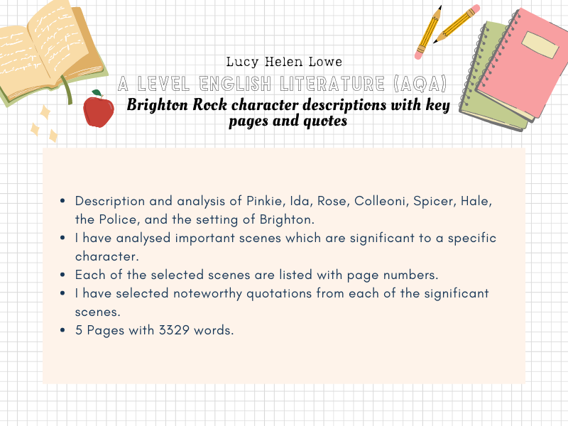 A Level English Literature AQA Crime Brighton Rock Character List with Key Pages and Quotes