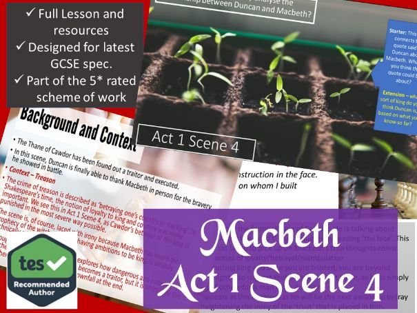 Act 1 Scene 4 Macbeth GCSE English Literature 9-1
