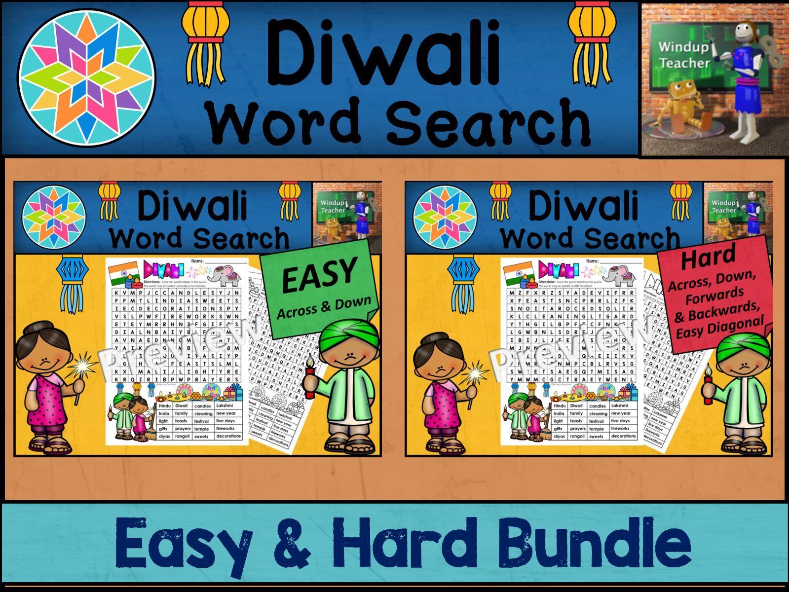 Diwali Word Search BUNDLE - Easy and Hard Bundle