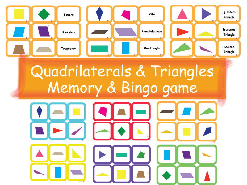 Quadrilaterals and Triangles Memory Cards plus Bingo