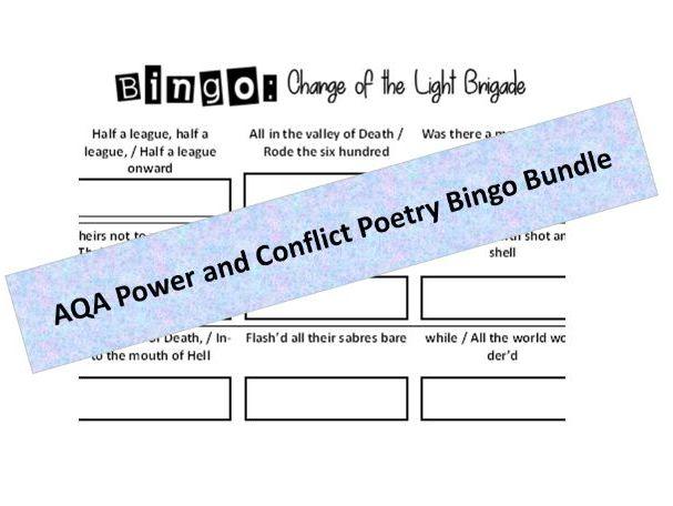 GCSE (AQA) Power and Conflict Poetry Anthology: Key Quotations Bingo Bundle