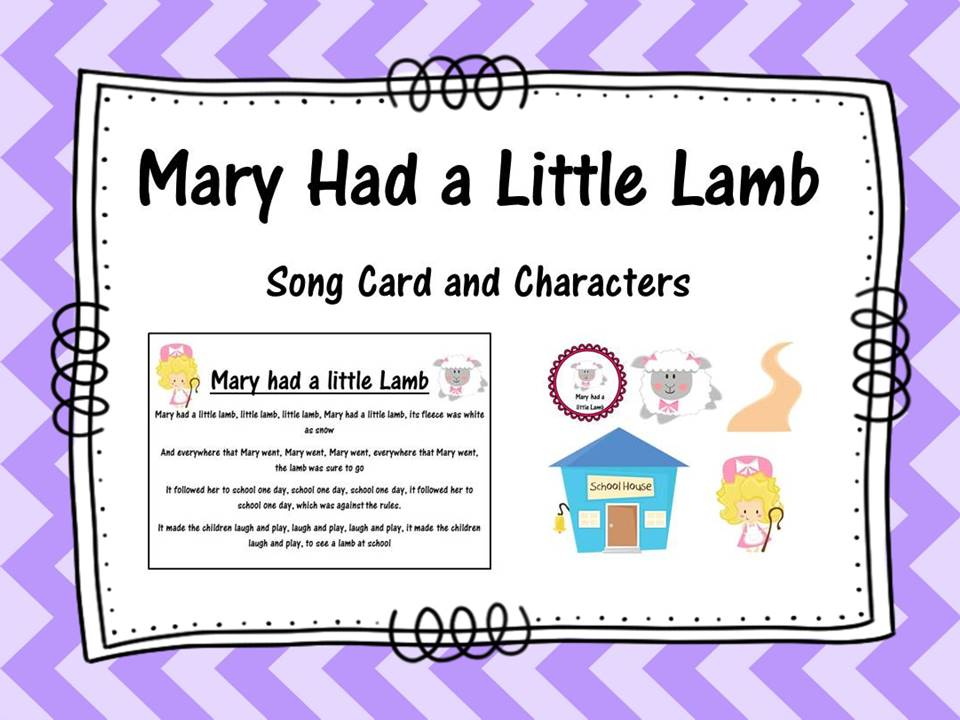 Mary had a Little Lamb Song Card and Characters