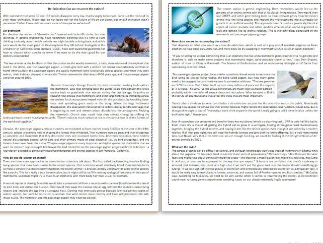 De-Extinction: Can we resurrect the extinct?  - Reading Comprehension Worksheet / Text