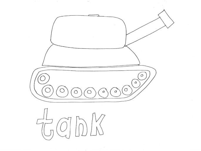 Tank: Transport and Travel: Colouring Page