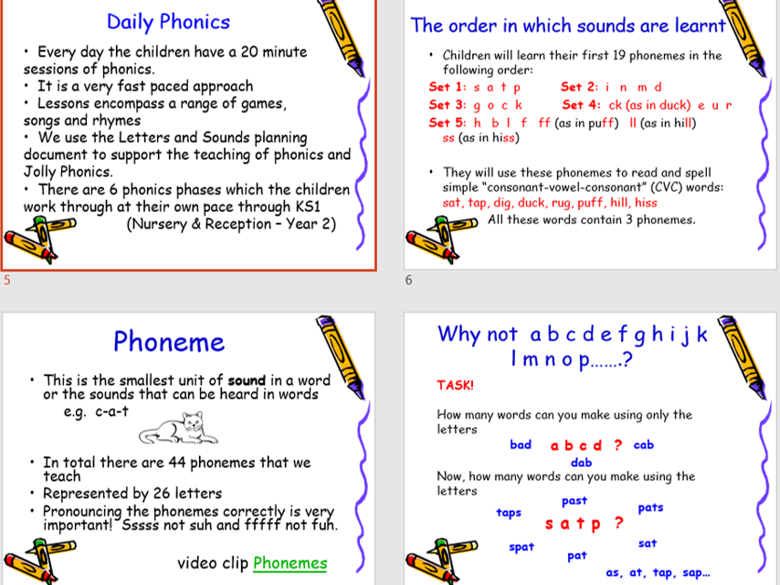 Letters & Sounds Phonics / Reading Perent Impact Presentation