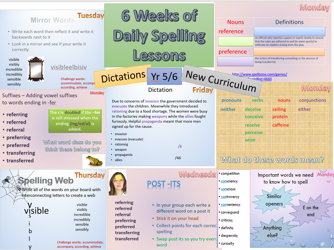 Whole Term 3 of Daily Spelling Lessons Resources Dictations Year 5/6 New Curriculum