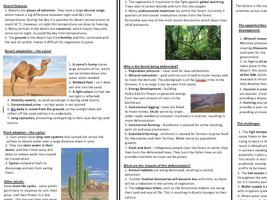 Biomes Knowledge Organiser