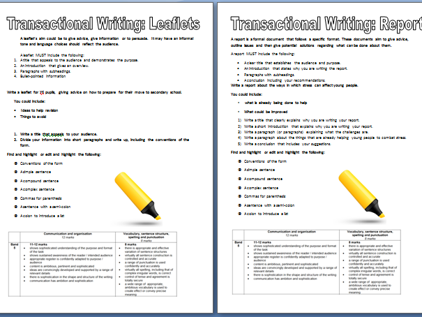 Revision Tasks for Transactional Writing: Leaflets, speeches, reports (based on EDUQAS)